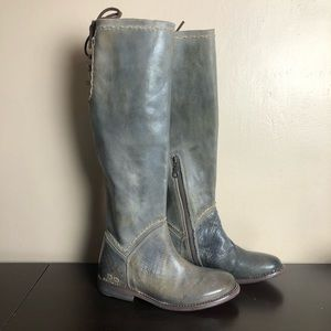 Bed Stu Manchester Taupe Gray Lace Knee High Boots